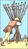 10 of wands minor arcana card