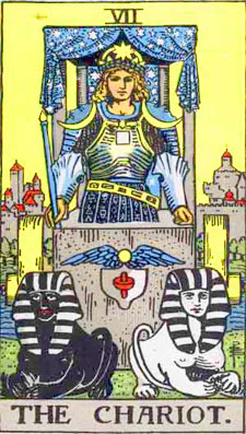 the chariot tarot card  - illustration from the Rider waite deck