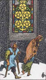 The Five of Coins Tarot Card in the Rider Waite Suite