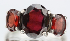 red garnets in a ring