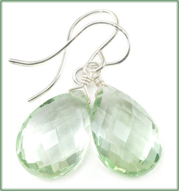prasiolite earrings faceted tear drops