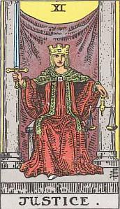 Tarot Card from the Major Arcana - Justice nr 14.