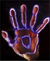 kirlian photography of a hand