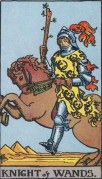 the knight of wands minor arcana card