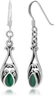 silver malachite earrings