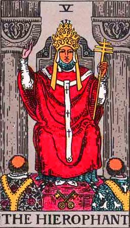 the Hierophant from the Rider Waite Deck