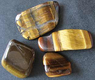 tigers eye, beautiful samples on a table