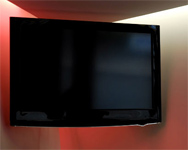 TV hanging on the wall