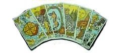 several used tarot cards