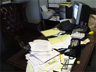 desk full of documents